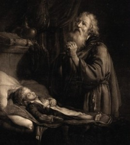 Rembrandt's depiction of Elijah raising the widow's son
