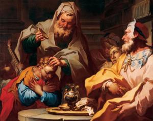 Samuel anointing Saul