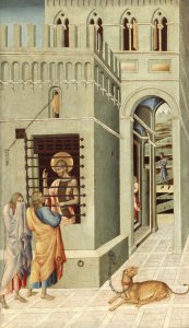 John the Baptist in Jail, visited by two disciples. Giovanni di Paolo, c. 1399–1482